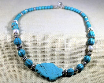 Turquoise necklace, beaded necklace, pearl necklace, blue necklace, turquoise choker, gift for mom, gift for her