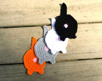 Crochet Kitty cat butt coaster, set of 4