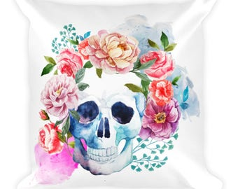 Throw pillow, skull pillow, floral throw pillow, water color flowers, water color through pillow, decorative pillow with skull