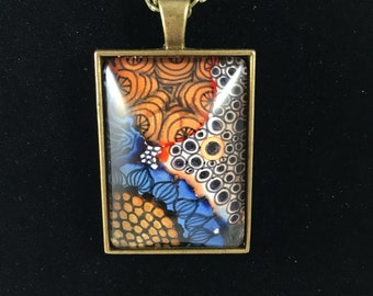 Hand painted alcohol ink pendant necklace with Zentangle drawing, wearable art jewelry, unique jewelry
