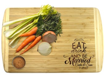 Eat Drink and Be Married Cutting Board, Wedding Gifts for Couples Wedding Gifts Personalized Gifts for Newlyweds, Just Married Gifts Premium