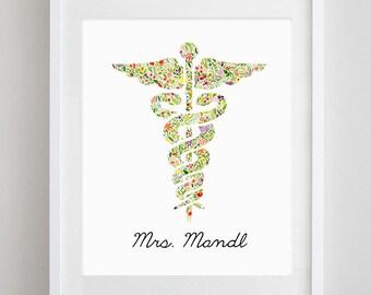 Customized Nurse Floral Watercolor Print