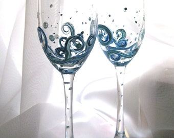 Seaside Twilight hand painted champagne flutes set of 2, larger set available