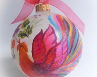 Christmas ball ornament Hand Painted Glass Ornaments Christmas Gift Tree Decoration Handpainted on Glass.