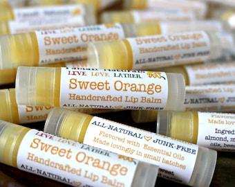 SWEET ORANGE Lip Balm - Jojoba, Almond, Macadamia Blend - Sweet Orange