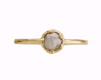 Milky grey engagement ring. Earthy. Spain.