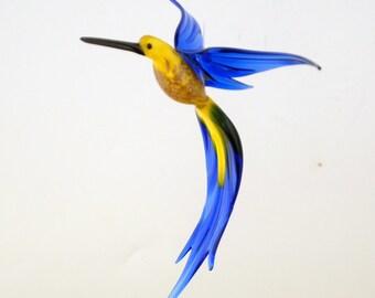 e36-224 Aventurine Hummingbird Yellow Blue