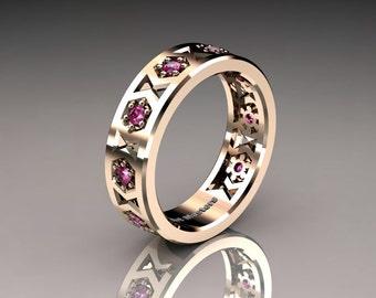 Womens Modern 14K Rose Gold Pink Sapphire Formal Wedding Band R535F-14KRGPS