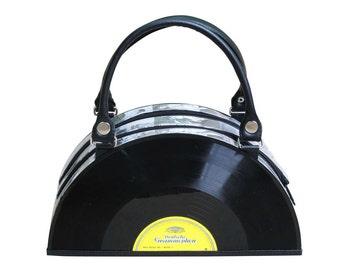retro vinyl record handbag bag - music gift for musician - nostalgic vintage gifts for women - repurposed bag - sustainable gifts for her