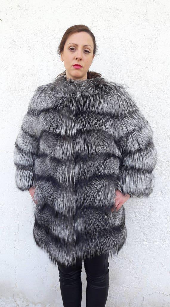 SiLVER FOX FuR coat/jacket FULL SKIN - Vollhaut Silberfuchs Pelzmantel Pelzjacke -Giacca di pelliccia volpe piena