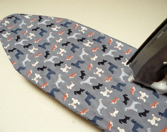 Ironing Board Cover TABLE TOP - poodles dogs fox terriers on grey