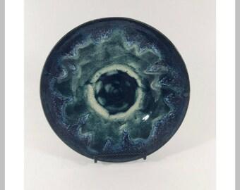 Ceramic bowl contemporary blue-green