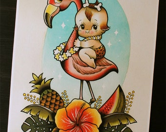 """Kewpie and Flamingo 11""""x14'"""" Tattoo Flash Print (Other sizes available)"""