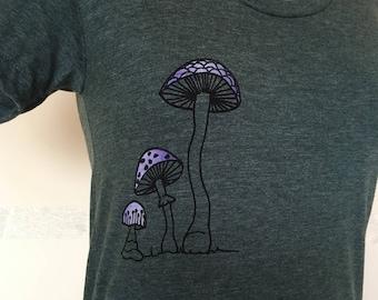 Mushroom T shirt - Womens T shirt,  Heather Forest Slim Fit, Magic Mushroom T shirt, Mycology Lovers, Sizes S to XL