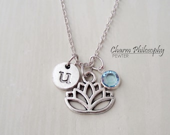 Lotus Flower Necklace - Monogram Personalized Initial and Birthstone - Lotus Charm