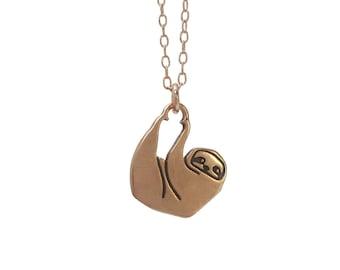 Sloth - Rose Gold Sloth Necklace - Rose Gold Sloth Pendant