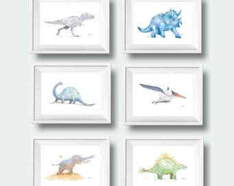 Dinosaur Nursery Wall Art, Set of 6, Set of 4, Gray Blue Dinosaur Decor, Baby Boy Nursery Decor, Dinosaur Wall Decor