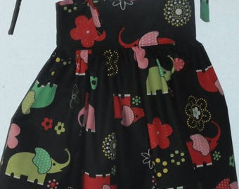 "dress with straps ""elephants"" theme fabrics"