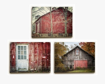Red Barn Wood Sign Set: Set of 3 Red Barn Landscapes on Wood Planks, Country Landscape Decor on Wood Pallet Signs, Red Wood Wall Art Decor.
