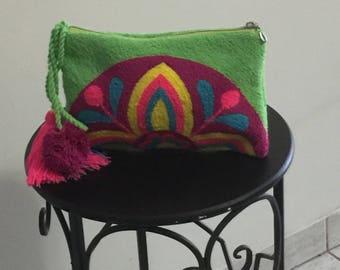 Green Handmade Colorful Clutch