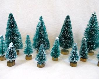 Bottle Brush Trees Flocked Christmas Trees Sisal Trees Craft Supplies Vintage Christmas Craft Supply Christmas Mini Bottle Brush Tree