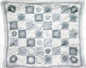 Grey Baby Blanket- Crocheted- Gray, White- Granny Squares- Newborn Baby Afghan- Made To Order- Boy or Girl