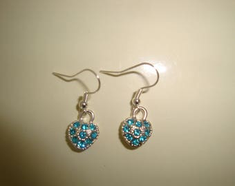 heart with blue rhinestone earring
