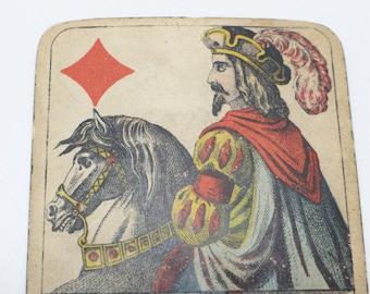 1800's German Antique Playing Card, C. L. Wust FERT NM,  King of Diamonds, Shultz Marke