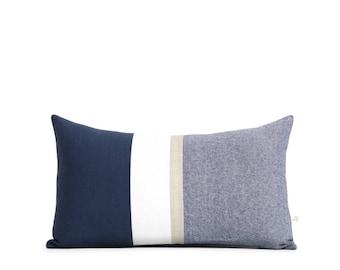 Metallic Gold Stripe Pillow Cover in Navy and Cream - Modern Home Decor by JillianReneDecor - Chambray - Colorblock - Nautical Pillow
