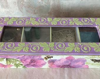 Wooden tea box, Storage organization, Trinket box, Tea bags holder, Kitchen organization, Tea bag box, Teatime