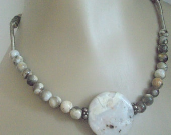 Necklace and Earrings Ocean Jasper with Sterling Silver Accents