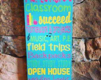 """First day of school SALE Personalized Wooden Teacher Classroom Sign 8x20"""""""