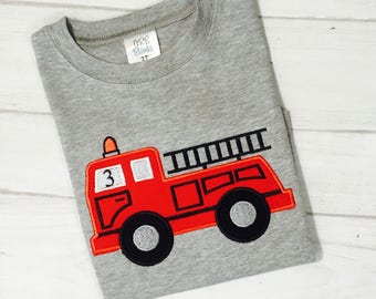 Personalized Embroidered Firetruck 3rd Birthday Shirt 1st Birthday Firetruck Shirt 2nd Birthday Firetruck Shirt Tee.   Any age