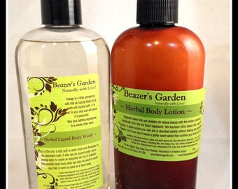 Herbal Body Lotion & Body Wash Gift - Daily Skincare - Natural Bath and Body - Scented Moisturizer - Liquid Bath Soap - Unisex Teen Gifts