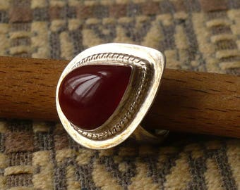 Carnelian and silver ring, size 7