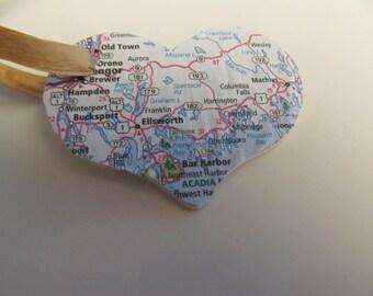 Maine, Bar Harbor, Ellsworth, Bucksport, Bangor, Old Town Heart Ornament -- Atlas, Upcycled (Ref. No. 61)