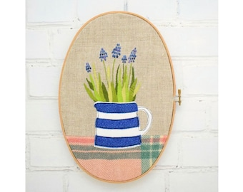 Signs of Spring Embroidery Pattern: Bulbs in a Cornishware Jug pdf instant download