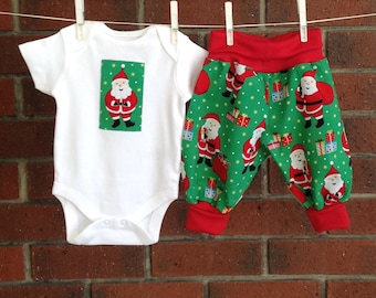 Baby boy christmas outfit,  unisex baby outfit santa, baby boy christmas clothes, christmas baby, baby harem outfit, newborn set christmas
