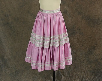 vintage 50s Circle Skirt - Pink Silver Patio Skirt 1950s Country Western Skirt Sz XS