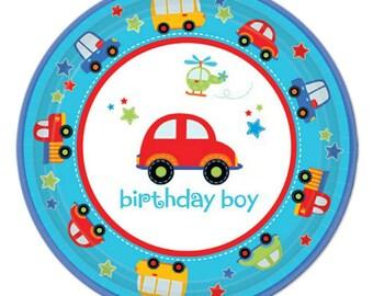 8 Ct Sturdy Dessert Size Paper Plates - Colorful All Aboard Transportation Theme - Birthday Boy - 1st Birthday