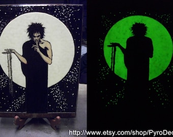 Dream Morpheus Glow In The Dark Hand Woodburned Plaque Sandman Neil Gaiman Pyrography Carved