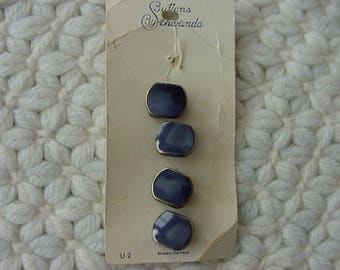 4 Navy Blue with Gold Trim Glass Buttons, Buttons by Schwanda Card, Western Germany, Collectible, Decorative, Sewing, Scrapbooking, Lot 687