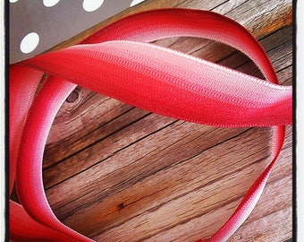 ombre Ribbon in red with 15 mm wire