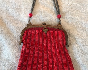 Red Vintage Beaded Purse with Black Velvet Lining
