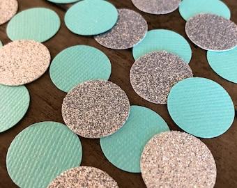 100 pcs TIFFANY BLUE & Silver or Gold Glitter Circle Confetti ~ Bridal Shower Decor ~ Tiffany Party Theme ~ Wedding Decor ~ Birthday Decor