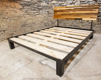 The Mosaic - Platform Bed with Adjustable Headboard from Reclaimed Wood and Industrial Metal