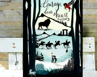 Narnia silhouette scene with quote: Courage dear heart.