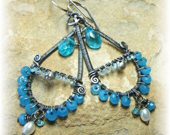 Crown of Akumal II- Sterling Silver Earrings with Caribbean Blue Apatite and Blue Quartz  - Long and Opulent - Handmade and Oxidized