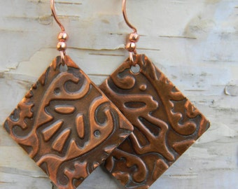 Embossed Copper Earrings #SDO