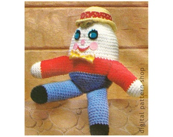 Humpty Dumpty Crochet Pattern Vintage Crochet Amigurumi Stuffed Story Book Toy Pattern 14 Inches Tall Instant Download C162